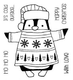 Woodware - Wrapped Penguin - Clear Magic Stamp Set - FRS045